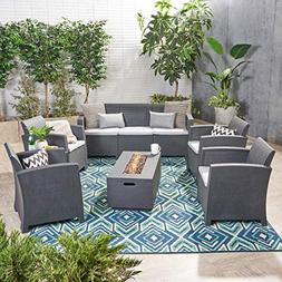 Great Deal Furniture Clay Outdoor 7-Seater Wicker Chat Set w