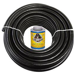 HydroMaxx 50 Feet x 1-1/4 Inch Black Flexible PVC Pipe, Hose