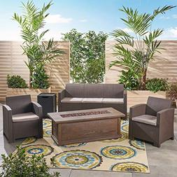 Great Deal Furniture Ian Outdoor 5-Seater Wicker Chat Set wi