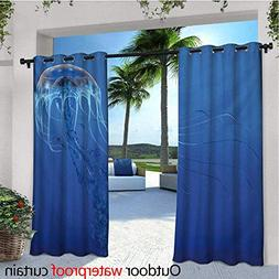 homehot Jellyfish Balcony Curtains Blue Spotted Jelly Fish A