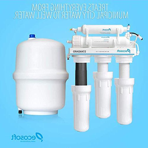 Ecosoft Osmosis Water Filtration and Under Sink Drinking Water in White, with
