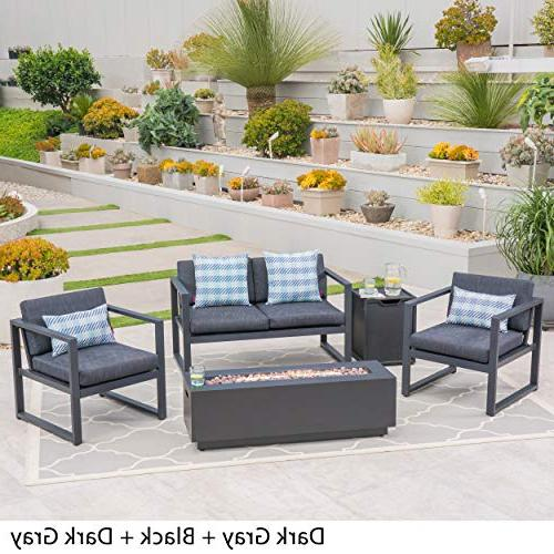 Great Furniture Outdoor 4-Seater Aluminum Chat Set with Pit Gray and Black and Dark Gray
