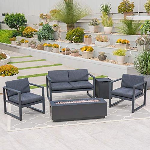 Outdoor Aluminum Set with Pit and Holder, Gray and and Dark Gray