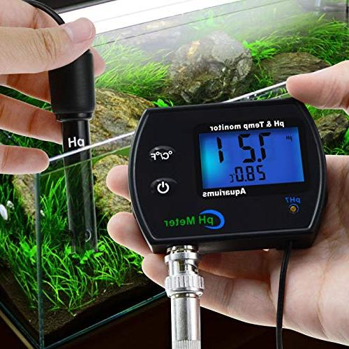 PH & Continuous Monitor Meter w/Backlight Replaceable 0.00~14.00pH Water Quality Aquariums Hydroponics Spa