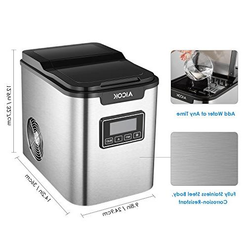 Countertop Self-clean Makes Ice hours, 9 Ice Cubes ready in Qt. Tank, Display & Stainless