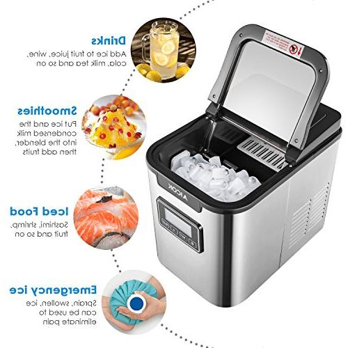 Portable Ice Maker Self-clean Makes Ice per 24 hours, 9 Ice Cubes ready in 2 Qt. Water Display Stainless Steel
