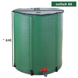 New 66 Gallon Portable Rain Barrel Water Collector Tank Spig