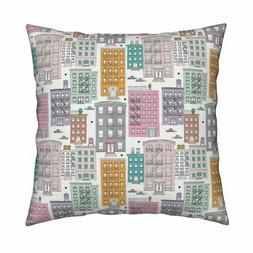 New York Water Tank Quirky Throw Pillow Cover w Optional Ins