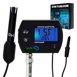 PH & Temperature 2-in-1 Continuous Monitor Meter w/Backlight