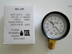 "Pressure Gauge NO LEAD 1/4"" 100psi 2"" for Water Well Tank"