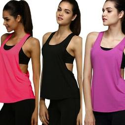 US Women Sports Vest Tank Loose Gym Fitness Yoga Blouse Athl