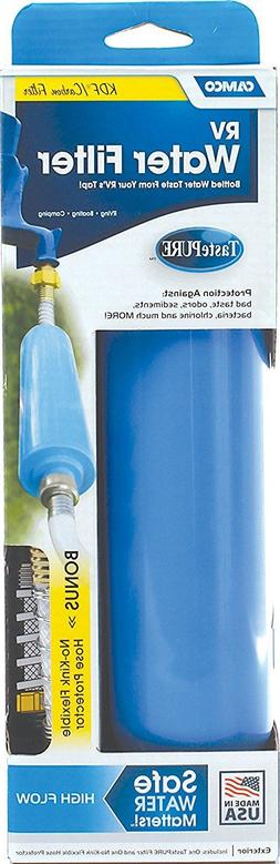 Camco Water Filter with Flexible Hose Protector, Reduces Bad