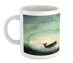 Ambesonne Whale Mug, Environmental Image with a Whale in an