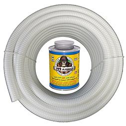 HydroMaxx 25 Feet x 1 1/2 Inch White Flexible PVC Pipe, Hose